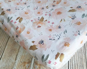 Fitted Crib Sheet - Baby Crib Sheet - Floral Crib Sheet - Girls Baby Sheet - Peach Crib Sheet - Toddler Sheet - Floral Changing Pad Cover