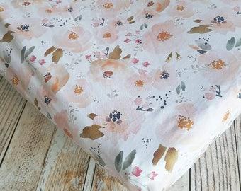 Floral Crib Sheet - Girls Baby Sheet - Peach Crib Sheet - Toddler Sheet - Floral Changing Pad Cover - Baby Shower Gift - Baby Bedding