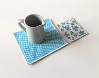 fabric mug rug - teal trivets - set of 2x - hostess gift - shabby home decor - hostess gift