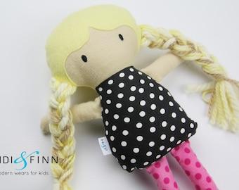 SAMPLE SALE Mini Pals soft rag doll keepsake gift OOAK ready to ship pink black modern