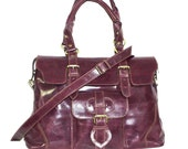 Deep Purple Leather Bag Leather Tote /// Leather Handbag, Johanna size L