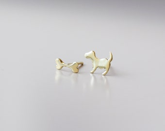 Tiny dog and bone mismatched silhouette earring studs in 14K yellow gold - teens jewelry gift for girl Christmas stocker pet lover