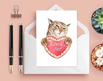 Cat Greeting Card - Valentines Day Card, Anniversary Card, Blank Card, Stationary, Cat Watercolor