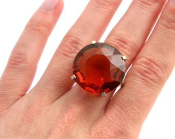 Vintage Sterling Silver Amber Topaz Solitaire Ring - Huge Faceted Round Glass - 35 Carats - Size 7 - ESTATE - Hollywood Statement