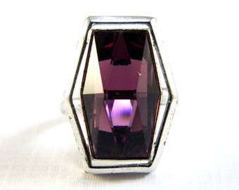 Vintage Silver Purple Amethyst Solitaire Cocktail Ring - Faceted Glass - February Birthstone - Adjustable - Sarah Coventry