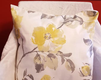 Pillow Cover with Insert 20 x 20 inches Dogwood Flowers Yellow Gray White