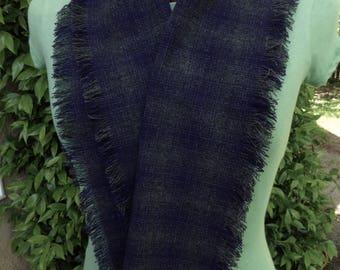 Dark gray and purple plaid wool scarf, hand fringed