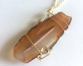 Brown Agate Pendant, Amber Gemstone Geode Necklace, Statement Jewelry, Gold Dipped Edge Festival Jewelry Boho Healing Chakra Jewelry