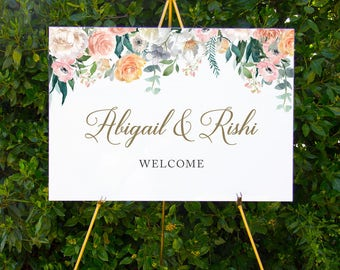 Watercolour floral welcome sign | Printable wedding signage