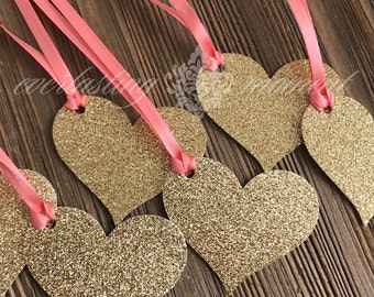 Gold GLITTER Heart Tags favor tags wedding tags coral and gold wedding