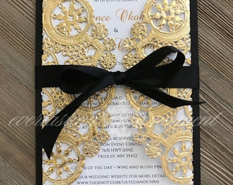 Black White and Gold Paper Lace Gatefold Wedding Invitation Luxurious Wedding Invitation Gold Wedding Invitations