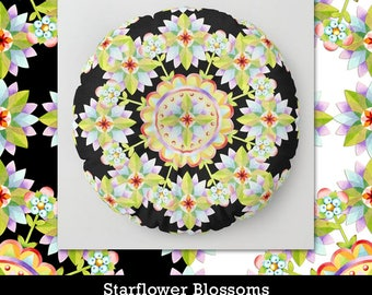 Starflower Mandala floor yoga pillow round square 26 or 30 inch black or white ground watercolour pattern by surface designer Patricia Shea