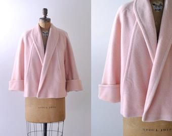 60's pink coat. pastel. 1960 swing coat. wool. light pink. large.