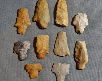 Lot of 10 Broken Native American, Late Archaic/Early Woodland Period (ca. 2000 BC - 1 AD) Arrowhead/Points From Mississippi Delta (m)
