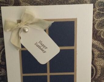 Rustic window pane birthday card - free shipping