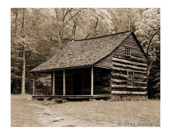 Fine Art Sepia Photography of Rural Americana - An Old Log Cabin in Appalachia in the Smoky Mountains