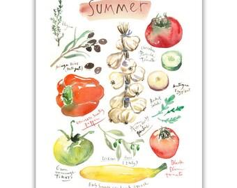 Summer vegetable print, Colorful kitchen wall art, Home decor, Seasonal veggie Watercolor painting, Food poster Garden lover gift, 4 seasons