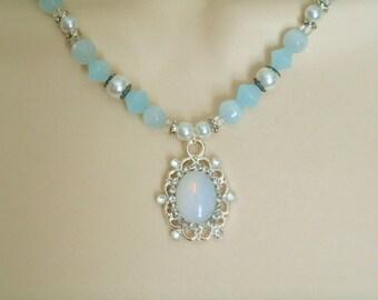Opalite Necklace, renaissance jewelry medieval jewelry victorian jewelry edwardian tudor art nouveau art deco neo victorian necklace