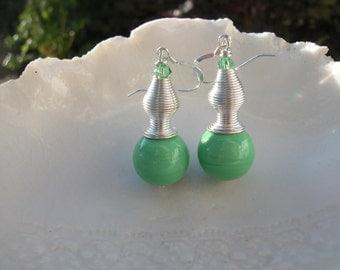 Green Murano Long earrings