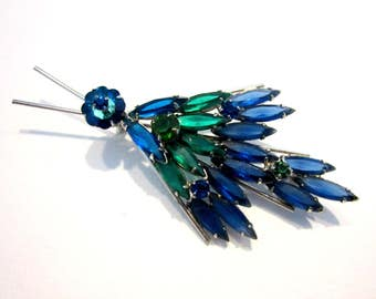 "Vintage Wing Bug Blue Rhinestone Brooch Silver Margarita Green Blue Bug Spray Pin 3 1/8"" Jewelry Gift for Her Gift for Mom"