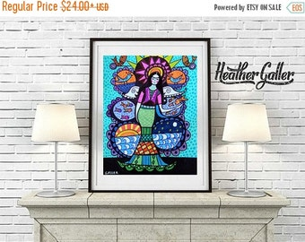 50% Off Today- Mermaid Print - Mermaid Tree of Life Poster Mexican Folk Art of Painting - Heather Galler (HG620)
