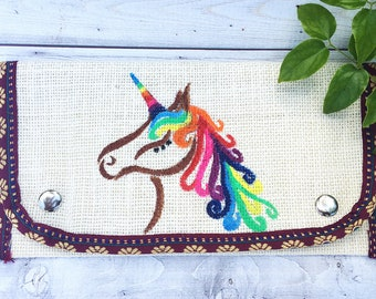 Painted Purse- Ladies Wallet- Unicorn Purse- Mom Gift- Burlap Purse- Fabric Wallet- Card Wallet- White Purse- Wallets for Women Gift for Her