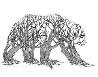 Ursa Arbor - ink illustration drawing of a bear made of trees in a forest optical illusion art