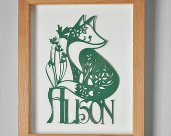 Personalised Fox Paper Cut Art