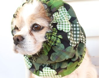 Shamrock Dog Snood, Cotton Long Ear Coverup, Cavalier King Charles or Cocker Snood, Saint Patricks Day