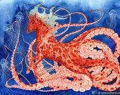 Nootas, Unicorn watercolor art, original fantasy painting, hippocampus, octopus, underwater creature, jelly fish, ocean, illustration