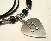 Guitar Pick Necklace - Stainless Steel Pick - Music Necklace - Music Jewelry -  Music Note  - Music Note Necklace - Adjustable