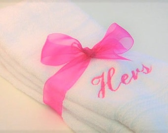 Custom His and Hers Hand Towels - Wedding Present - Bathroom Towels - Hers and His Hand Towels