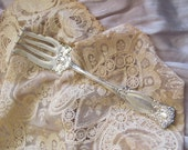 Antique Ornate Large Silver Plate Serving Cold Meat Fork - Warwick 1901 Pattern