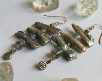 Iridescent Luminous Seafoam Sage Green Biwa Pearls and Rainbow Labradorite drop earrings.
