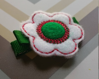 White And Green Feltie Flower Hair Clip / Non Slip Hair Clip / Baby To Adult Hair Clip/  Ready To Ship