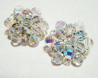 Aurora Borealis Crystal Faceted Glass Bead Cluster Earrings,  Clip On Style, Vintage Wedding Bridal Jewelry, Mid Century,  816DG