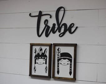 Native American Kids Children Distressed Framed Wood Sign kids room nursey home decor play room