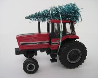 INTERNATIONAL HARVESTER Modern Farm Tractor - CHRISTMAS Ornament, Christmas Village Display - Tree Tied to Top