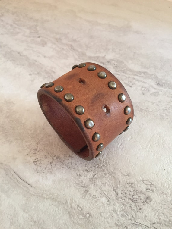 Women's Brown Leather Cuff with Studs (Size 6.5 inches)