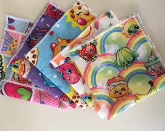 MTM Shopkins party favors cloth lunchbox napkins. Set of 5 different prints.