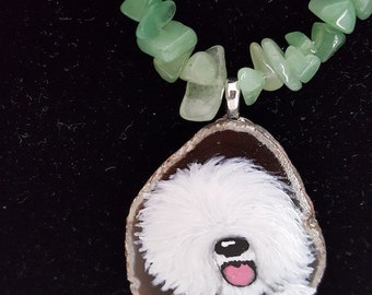 Hand Painted Old English Sheepdog on Geode Slice Necklace