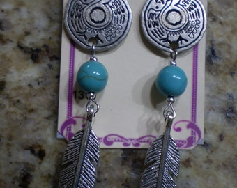 Turquoise and silver feather post earrings