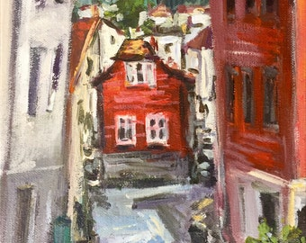 "Bergen Street Norway Red House small original painting sale  8""x10"" acrylics on canvas"