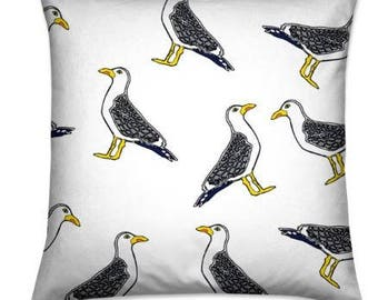 Handmade Nautical Seagull Floor Cushion Cover / Luxury Dog Bed