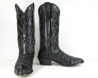 vintage cowboy boots mens 8 D black python snake skin western montana womens 10 leather