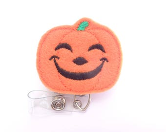 SALE - Halloween Badge Reel ID Holder Retractable - Happy Halloween Jack o lantern - orange pumpkin - Nurse badge reel medical badge reel