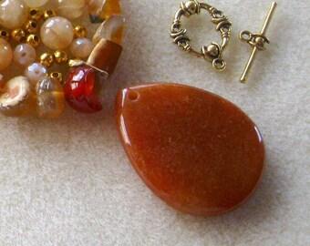 Red Aventurine Pendant, Agate Chip Beads, Yellow Jade Beads, Gemstone Beads, Jewelry Making, DIY Jewelry Kit