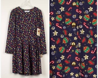 Girls Large 14 New Navy Blue Red Christmas Dress Girl Holiday Outfit Deadstock 90s Vintage drop waist novelty print Christie Brooks dress