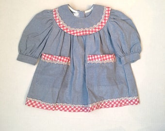 12 months Blue Chambray Denim Smock Top with pink gingham check | Baby Infant Girl Dress | 90s Vintage Paper Dolls