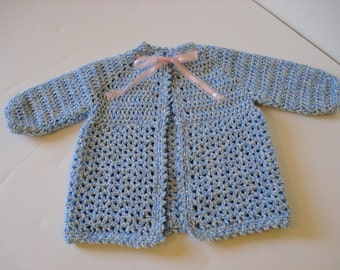 Crocheted Baby Sweater Made from Warm Worsted Weight Yarn in 9-12 Month Size in Blue with Yellow, Pink, White Flecks with Ribbon Tie Closure